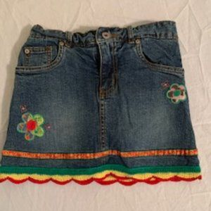 Girls denim mini skirt with attached shorts